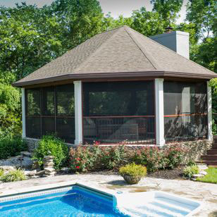 Gazebo With Fireplace, Exposed Beams and Screen Enclosure